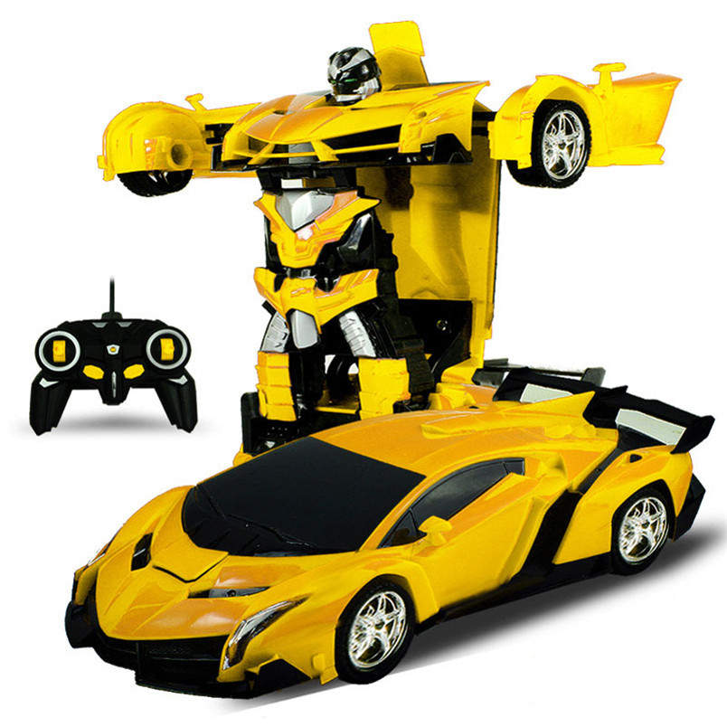 Crianças brinquedos de carro elétrico rc carro esporte choque resistente transformação robô brinquedo controle remoto deformação carro robôs rc