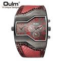 6 Cores Super Cool Oulm Marca Homens Relógios de Quartzo Dobro hora do Show Cobra Banda Casual Men Sports Relógios Militares do Sexo Masculino relógio