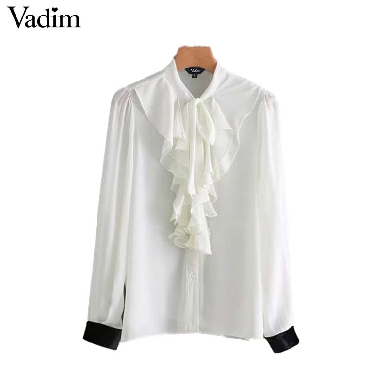ac211e5bb5 Vadim elegant ruffled chiffon white shirt velvet patchwork long sleeve bow  tie collar vintage blouse pleated