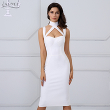 2017 Woman Runway Bandage Summer Dress Black Halter Straps Backless Hollow Out Party Dress Hot Elegant Celebrity Bodycon Dress