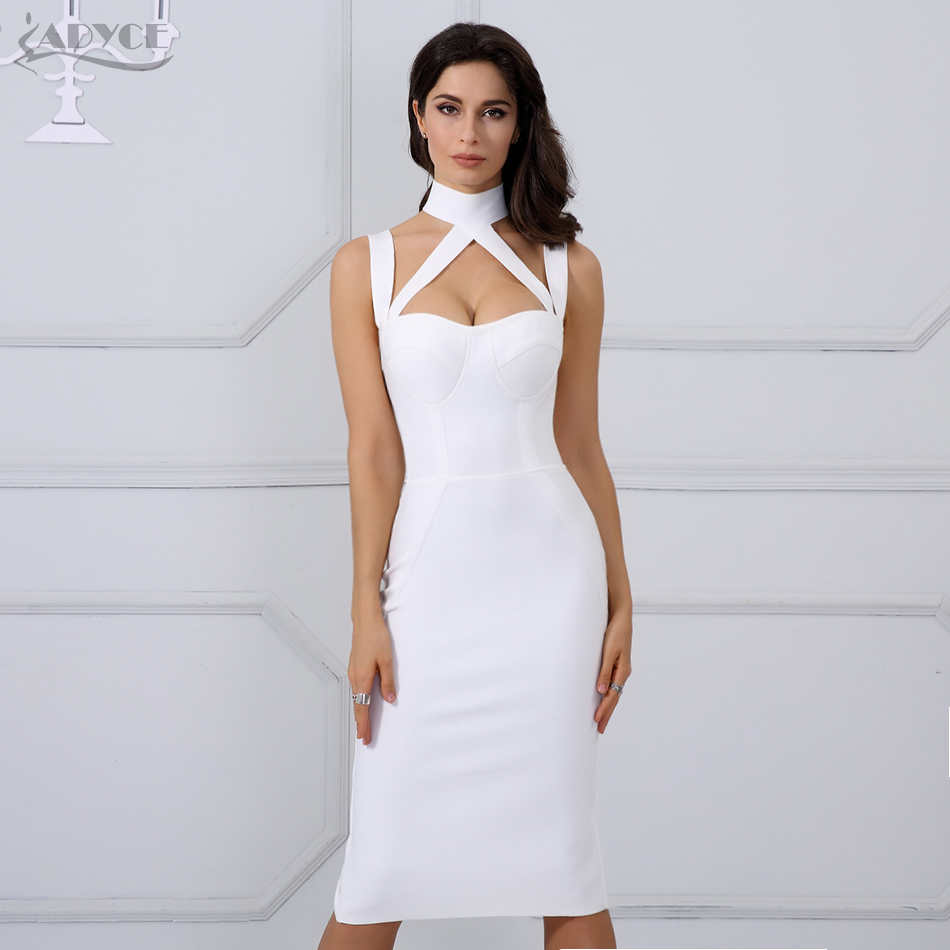 2018 Woman Runway Bandage Autumn Dress Black Halter Straps Backless Hollow Out Party Dress Hot Elegant