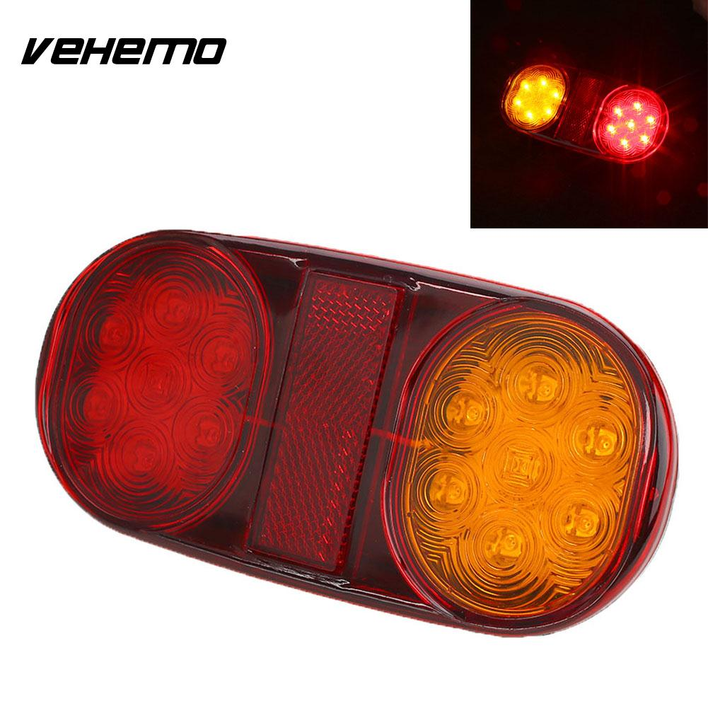 Vehemo 14 LED Truck Trailer Boat Caravan Rear Tail Light Brake Stop Lamp Taillight vehemo vehemo 10 30v 4 led tail number license plate light lamp truck trailer waterproof