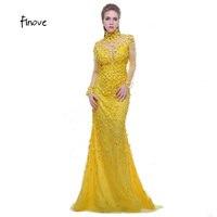 Finove Prom Dress Vàng 2017 Cao Cổ Dài Sleeves Xem qua Lại Beading với Flowers Formal Evening Dress Vestido de Festa