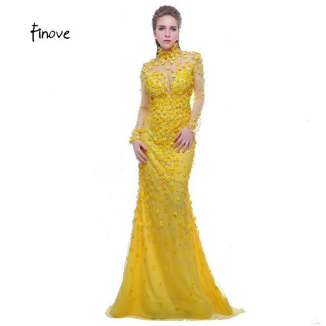 Finove Prom Dress Yellow 2017 High Neck Long Sleeves See Through Back Beading with Flowers Formal Evening Dress Vestido de Festa