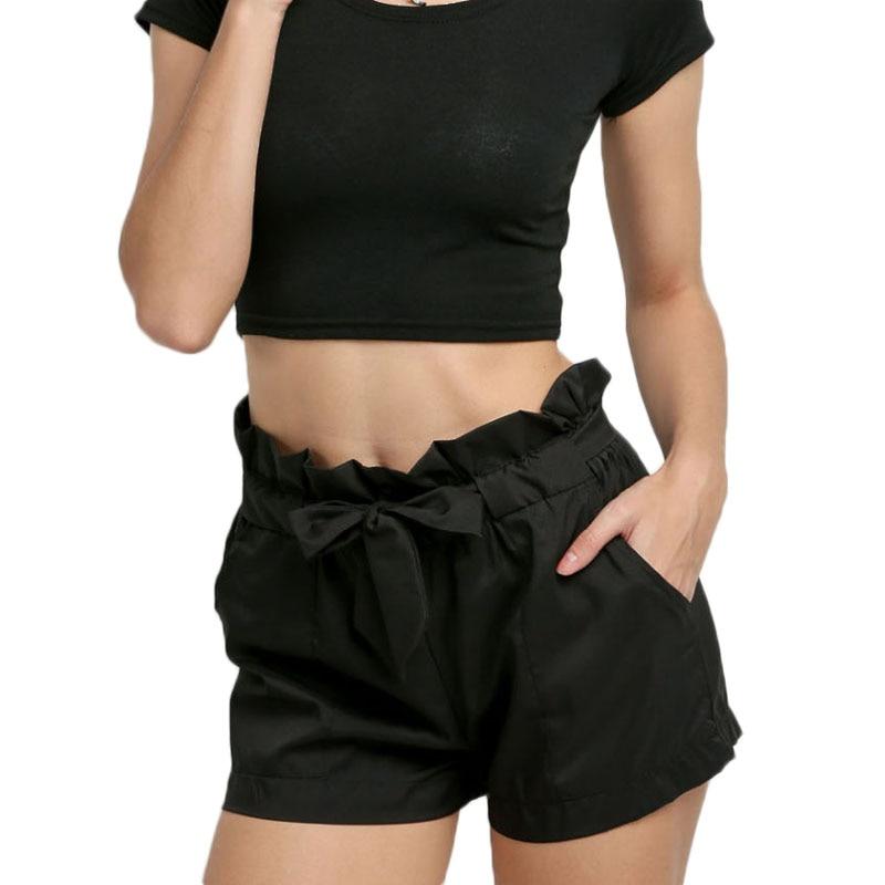 Fashion Women Sexy   Shorts   Casual   Short   Pants High Waist Summer Beach Bowtie Trousers M8694