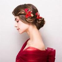 Rote Blume Haarspangen Haarschmuck Gold Farbe Schmetterling Braut Hochzeit Haarspangen Kopfschmuck Frauen Party Hairgrips Handgemachtes Geschenk