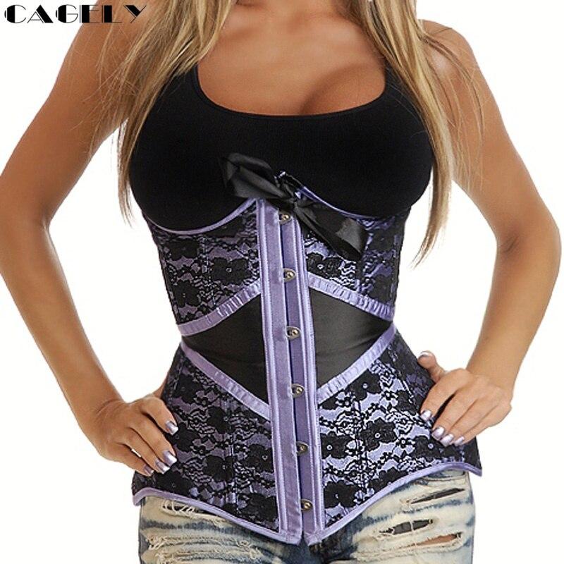 Waist Trainer Cincher Underbust Gothic   Corset   Top Busks Boned Steampunk   Bustier   Purple Tummy Belt Sexy Bow-tie Lace Corselet