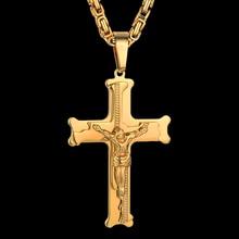 """Acero inoxidable bizantino cadena y colgante, 20 """"23"""" 26 """"Mens oro Color Jesús Cruz collares colgantes para hombres"""