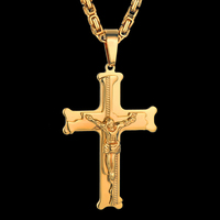 Stainless Steel Male Byzantine Chain & Pendant,20 23 26 Mens Gold Color Jesus Cross Necklaces Pendant for Men