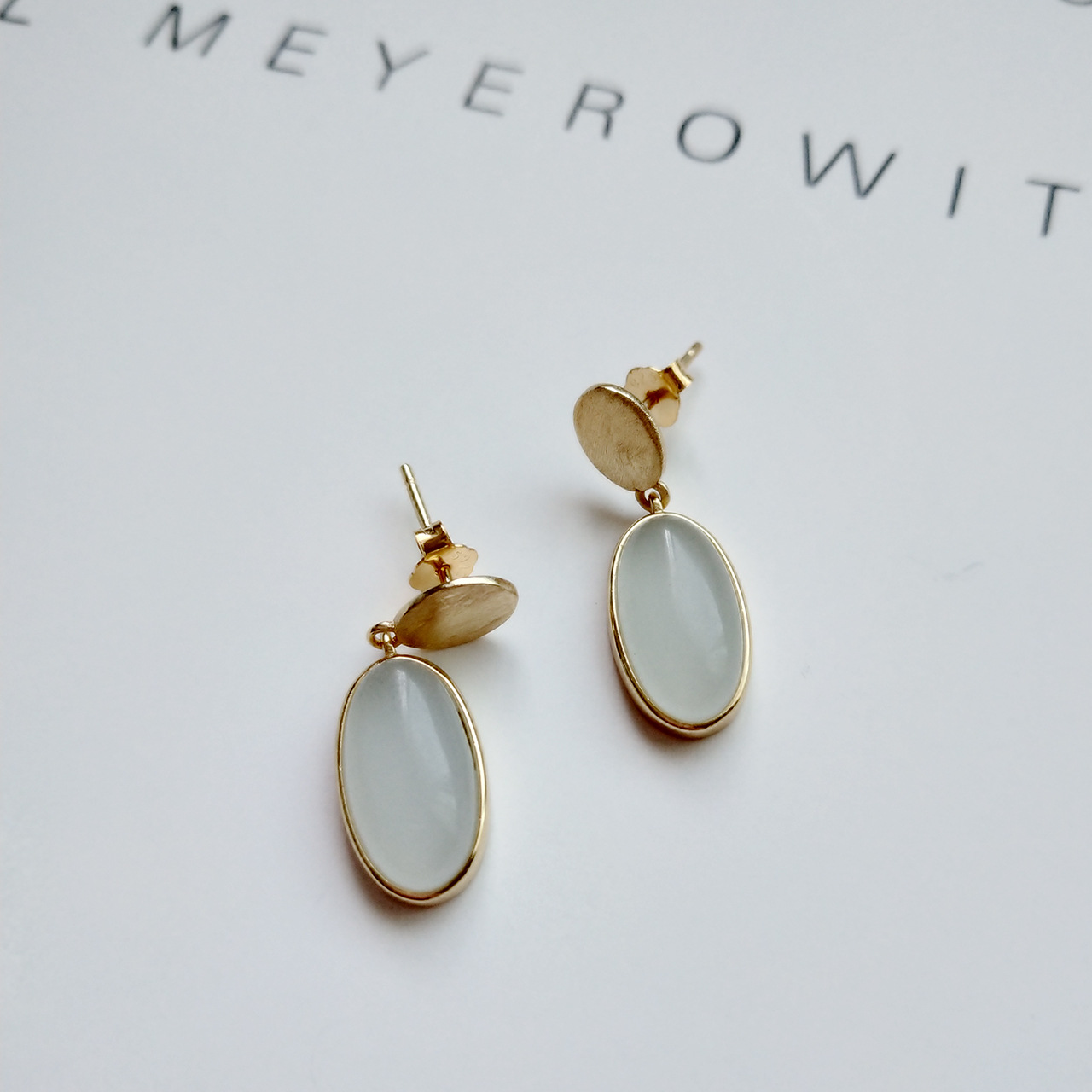 Korea Real Silver overall 925 sterling silver earrings shallow blue stones stud earrings gold Color wire