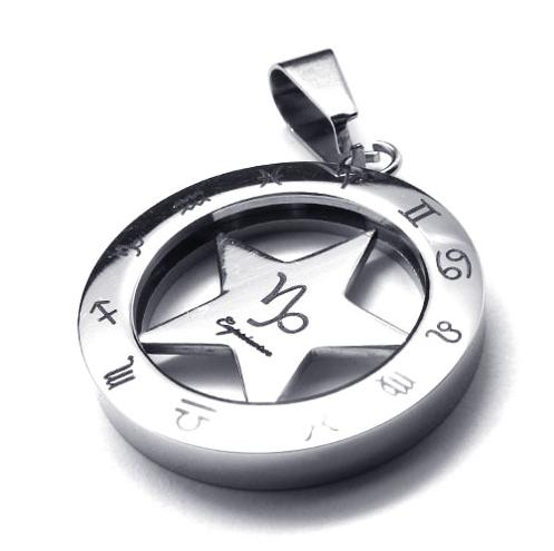 25*25mm Classic trendy stunning stainless steel pendant necklaces 12 zodiac signs round necklace with chain 076417