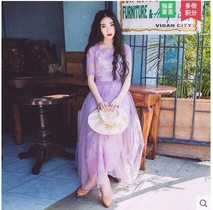 Couleur unie blanc violet 2018 été nouvelle dentelle rétro élégante robe en maille longue maxi plage robe de soirée vintage demi manches vestidos