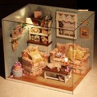 DIY Handcraft Miniature Project Kit Dolls House LED Lights My Room Little House Model Building Kits
