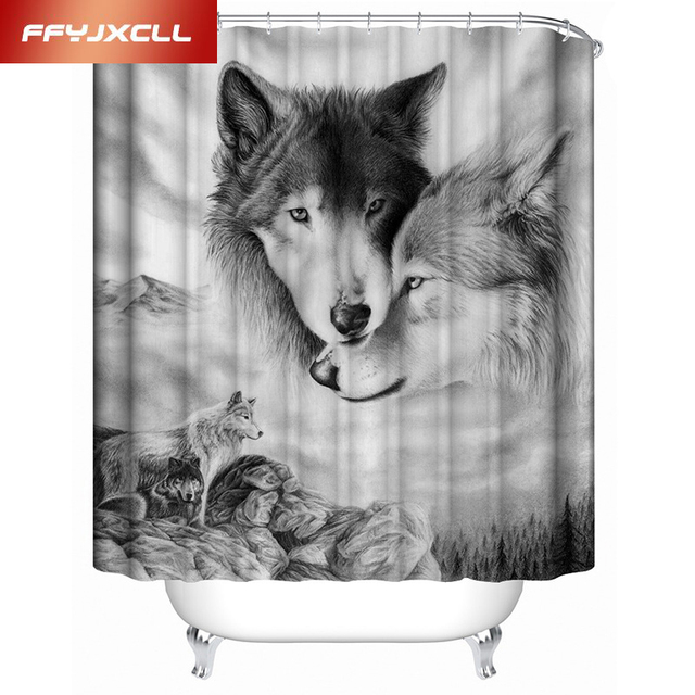 Polyester Digitaldruck 3D Wolf Tier Wasserdicht Duschvorhang Maß Bad ...