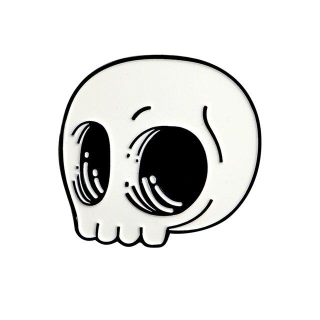 Sac en Jean en Denim, broche en émail avec squelette café tête de mort, badge en rose, cadeau de bijoux gothique Punk