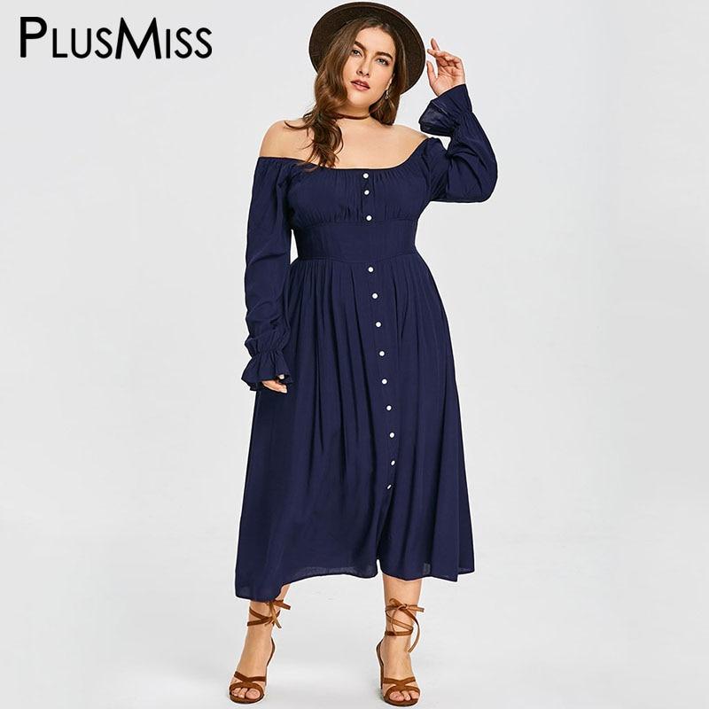 PlusMiss Plus La Taille 5XL 4XL Bouton Off The Épaule En Vrac mousseline de soie Maxi Longue Robe Femmes D'été 2018 Vintage Rétro Partie robes