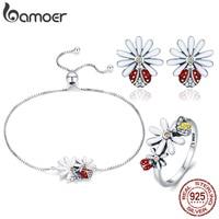 BAMOER Spring Collection 925 Sterling Silver Daisy Flower Jewelry Set Women Bracelets Rings Set Silver Luxury Jewelry ZHS094