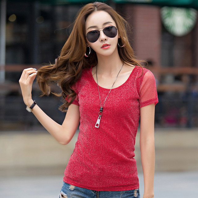 Brand Slim Short Sleeve T shirt Women Summer 2018 Casual Female T-shirt Ladies Tops Tees O-Neck Bottoming Tshirt High Quality