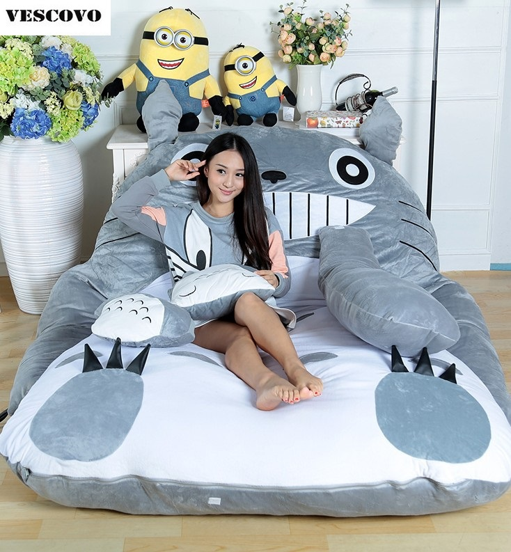 Huge Size Design Cute Soft Bed Totoro Lazy Sofa Bedroom Bed Sleeping Bag 100% Cotton Mattress Cover