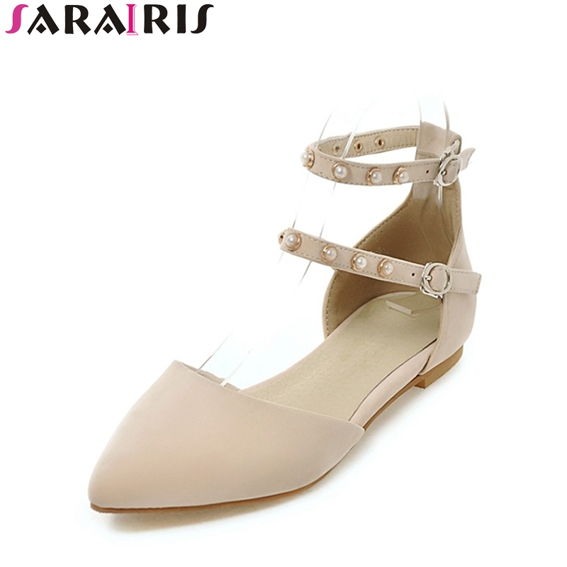 SARAIRIS Sexy Summer Large Size 34-43 Pointed Toe Punk Ankle Strap Sandals Woman Elegant Low Heel Women Shoes pu pointed toe flats with eyelet strap
