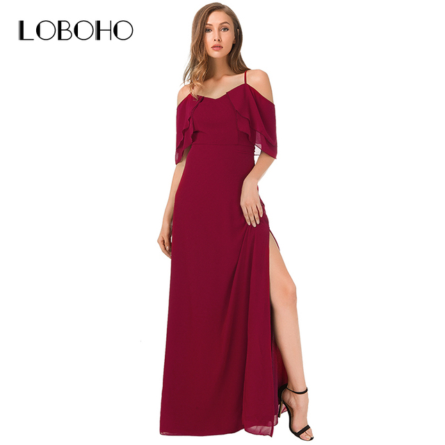 Ruffle Maxi Dress Red Summer 2018 Sexy Elegant Off Shoulder Long Dress  Floor Length Open Slit Strap Women Dresses Backless 4f54a4eaae