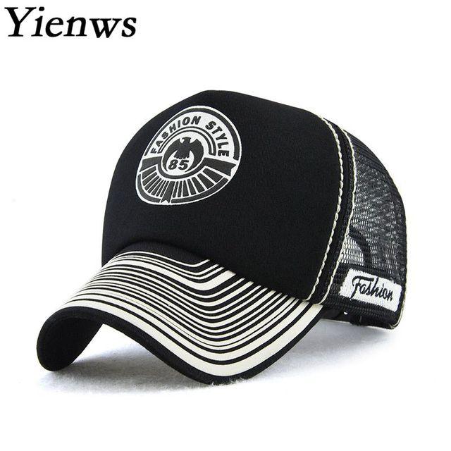 Yienws New Designer Mesh Baseball Cap for Adulto Fashion Summer Print  Curved Bones Net Baseball Cap Men Women Black White YIC622 7752b758fd2a