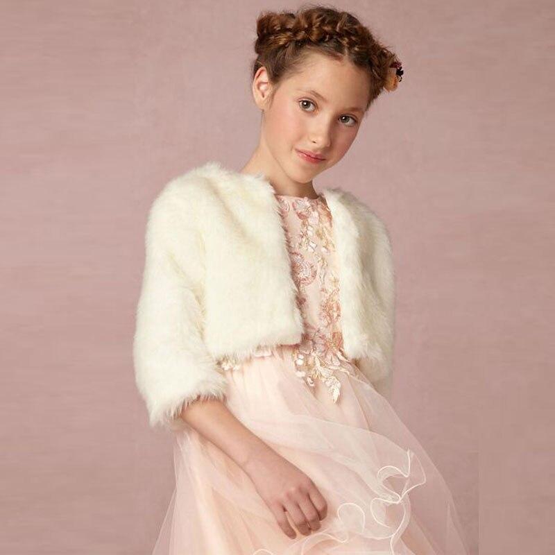 fleur filles hiver bolero plume veste demi manches jolie hiver cape de mariage blancivoire - Bolero Plume Mariage