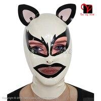 Capuzes de látex sexy cat borracha nariz aberto boca buracos com orelhas cat máscaras chapelaria plus size látex gummi capô xxxl zip 0.4mm TT-160