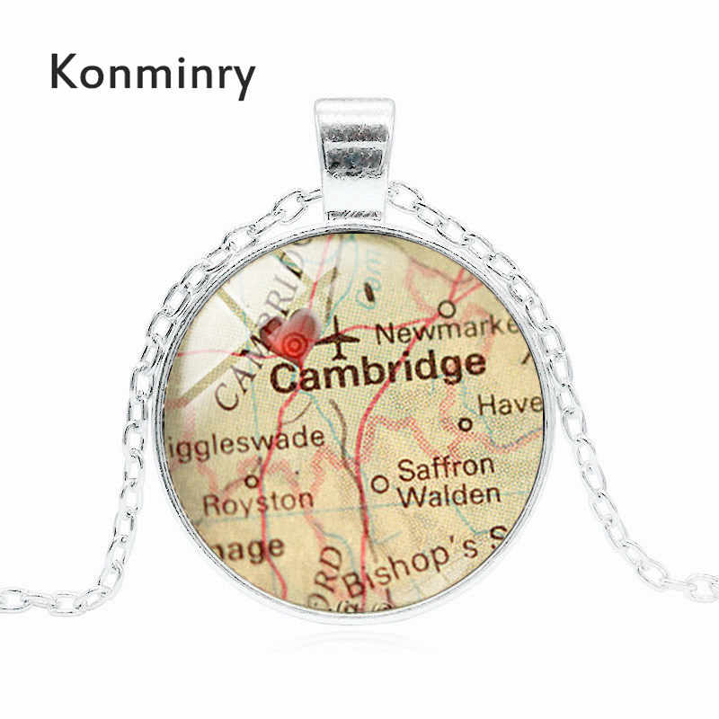 Konminry Charms Cambridge Red Heart Necklace Glass Dome Art England City  Map Silver Bronze Black Jewelry For Men Women Gifts