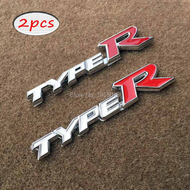 Car styling metal type r bumper stickers typer trunk hood decals badge sticker for honda acura