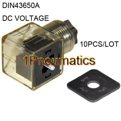 Free Shipping 10PCS/LOT Din 43650-A Line-Socket Plug For Valve Solenoid Coils Connector DIN43650A Led Indicator DC VOLT