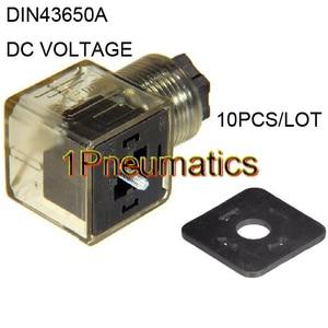 Image 1 - Free Shipping 10PCS/LOT Din 43650 A Line Socket Plug for Valve Solenoid Coils Connector DIN43650A Led Indicator DC VOLT