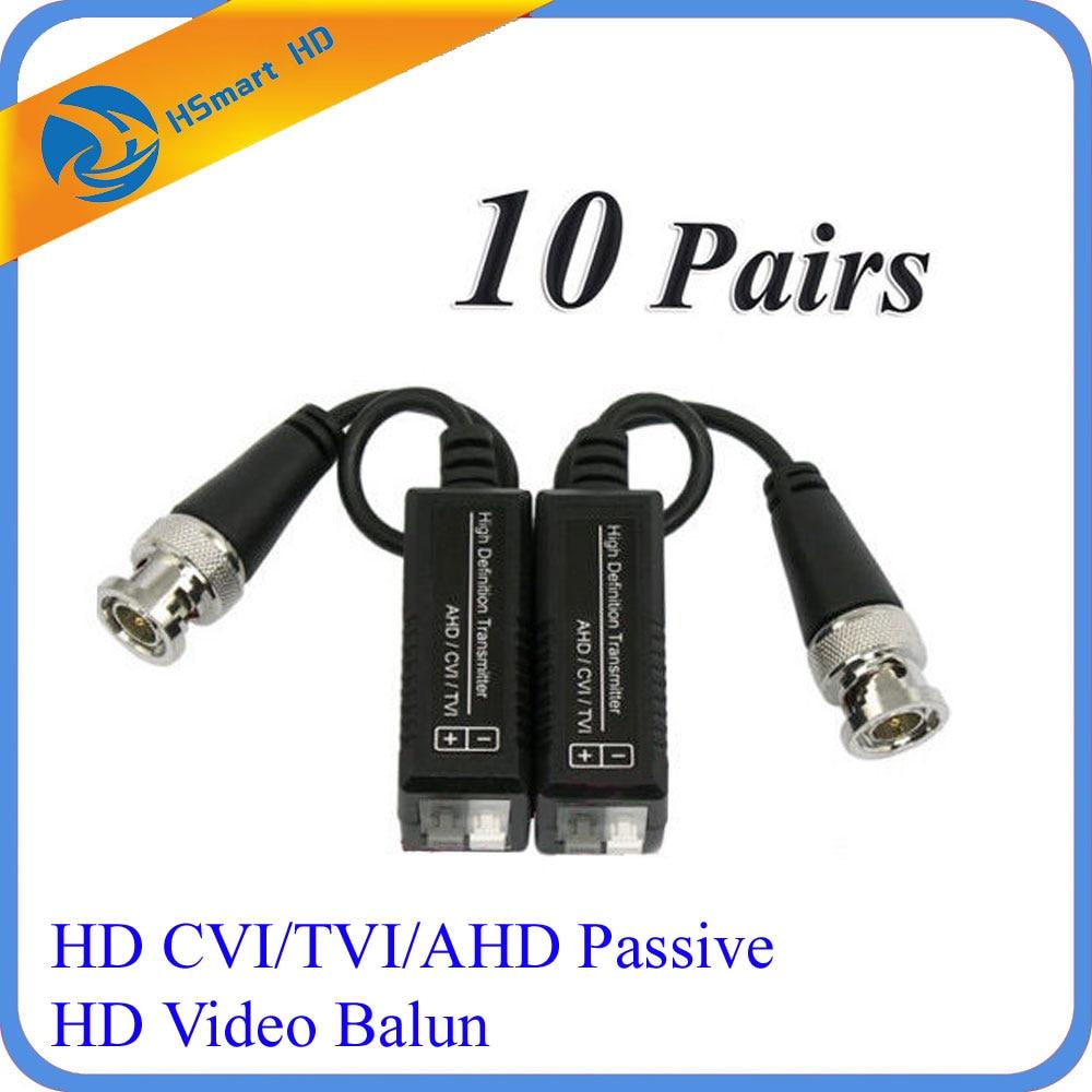 10 Pairs HD CCTV Via Twisted Pairs Adapter HD CVI/TVI/AHD Passive HD Video Balun Transmission & Cables