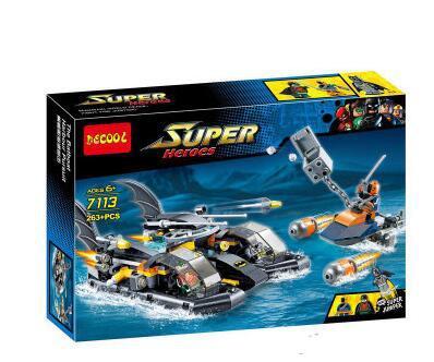 263 piezas super heroes Batman la pelicula La batlancha Puerto busqueda asalto MODELO DE 7113 bloques de construccion regalos co