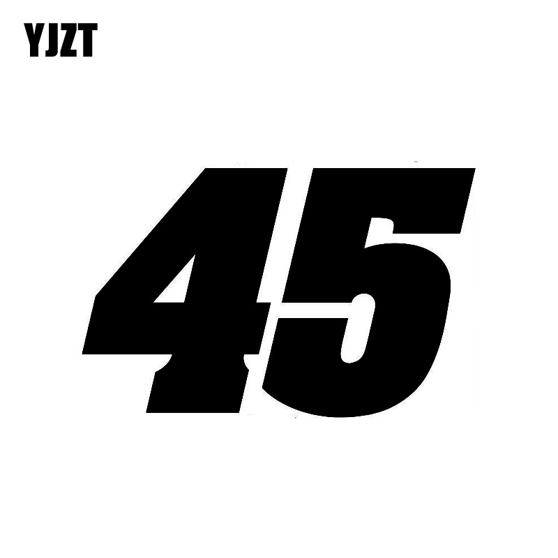 YJZT 14.2CM*9CM Personality Number 45 Vinyl Car Sticker Decal Graphical Motorcycle Accessories C11-0752
