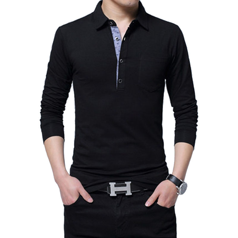 Brand New 4XL 5XL Men   Polo   Shirt Long Sleeve Spring Male Slim Fat Cotton Pure Color Casual   Polo   Shirts Men Top Tees AF1189