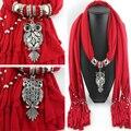 Мода ожерелья для женщин 2015 мягкая шаль украл шелковые полиэстер шарфы смолаы бусины шарм длинные ожерелья подвески F121
