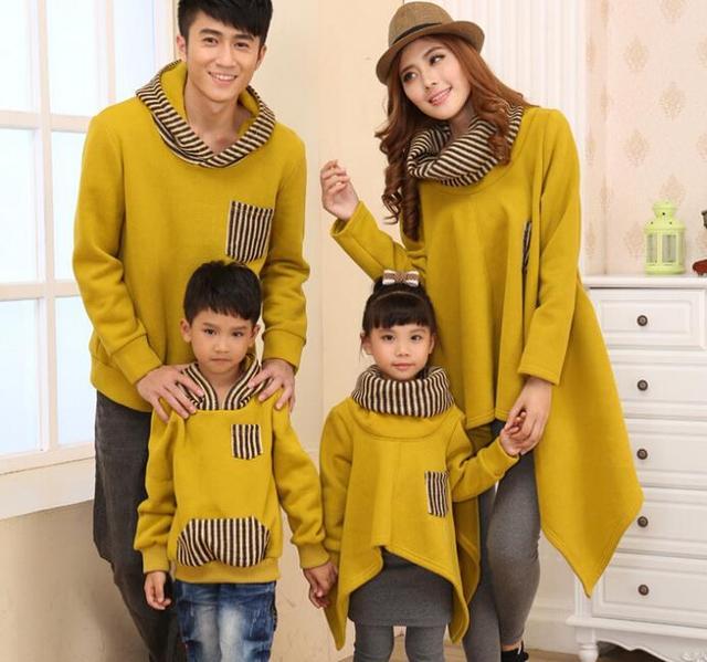 Familia Hoodies encapuchados de La Moda de Rayas Abrigos para niños/parejas Ropa para Padre Madre Hija Hijo (Amarillo/Negro color) CHH85