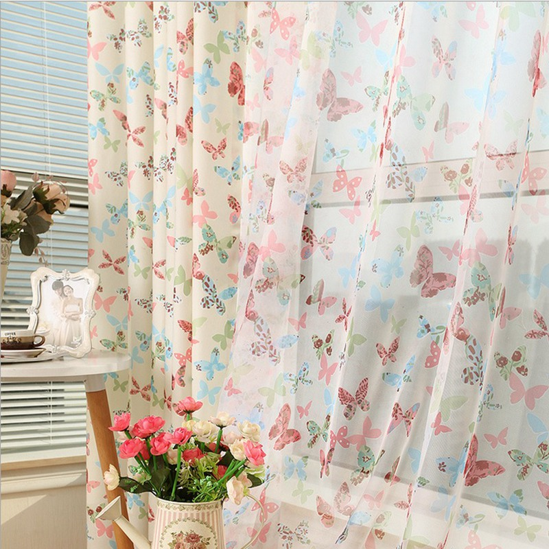 Pastoral Blackout Curtains Grommet Top Rod pocket Butterflies Tulle Curtains Free Shipping 220/260/265 high Fabric Su197 *20