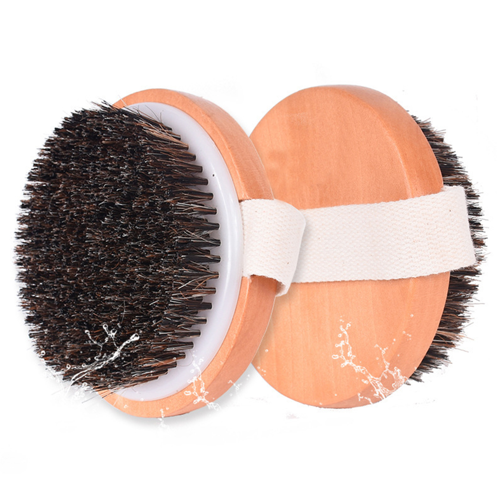Dry Skin Soft Wooden Brushing Exfoliating Artificial Horse Hair Bath Scrubbing Body Massage Cleansing Accessories Shower Brush