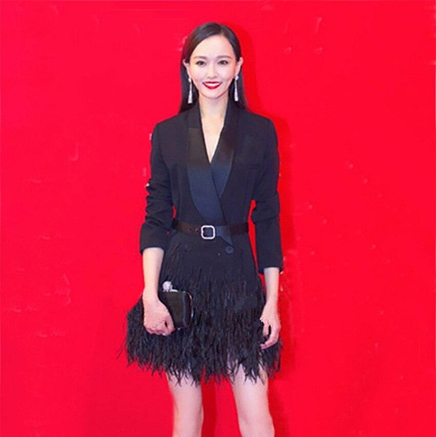 e6c3dac1a15c Vento Il Nuovo Nero Piuma Frange Con A Star Autunno Vestito Dell abito  Inverno Yu Giacca Qing Donna ...