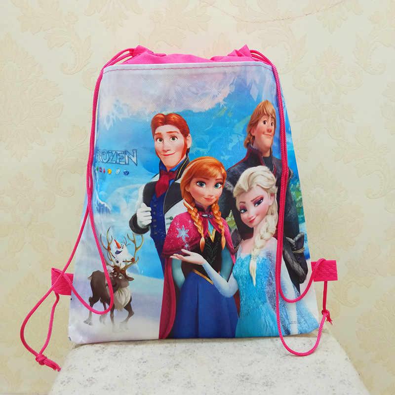 ديزني الأميرة الأطفال حقيبة بنقوش كرتونية تخزين فتاة بوي هدية حزمة المجمدة إلسا السباحة حزمة التجميل دمية على شكل عروسة الرباط