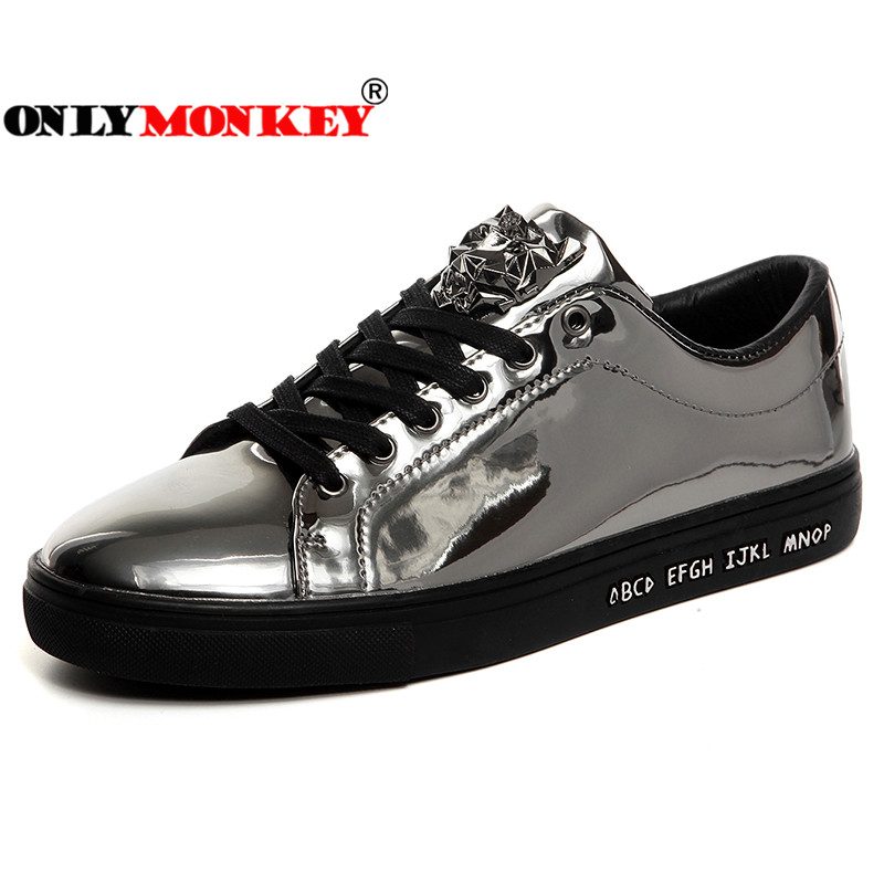 ONLYMONKEY Men Sequin Walking Shoes Glossy Men Waterproof Sport Shoes Male Rubber Sole Non slip Sneakers