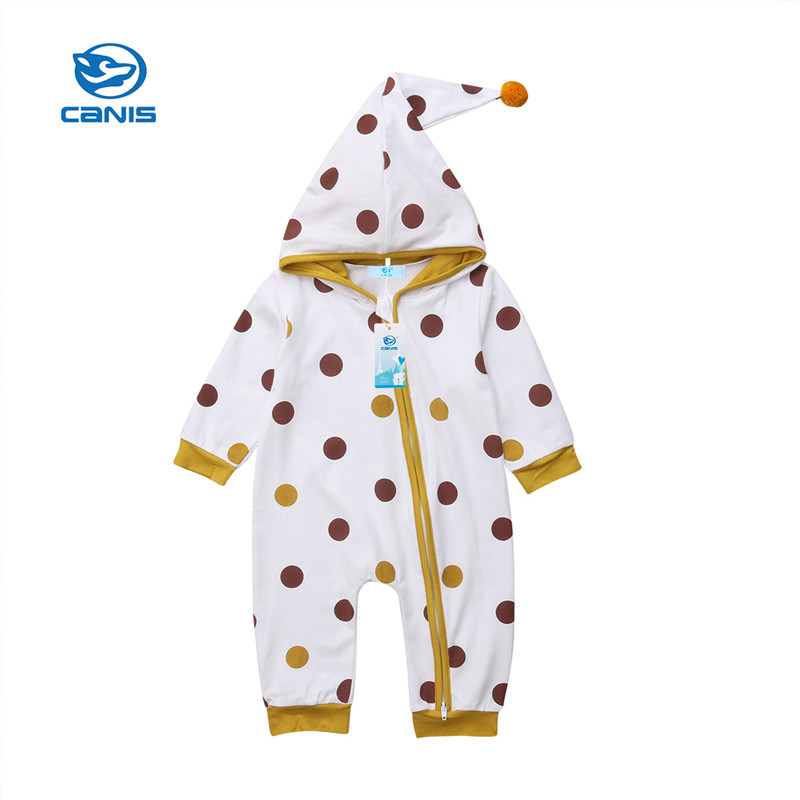 CANIS 2018 Newborn Boy Girl Zipper Hooded Romper Long Sleeves Cotton Baby