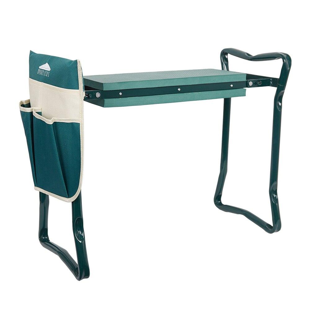 green-Garden Kneeler and Seat Folding Stainless Steel Garden Stool with Tool Bag