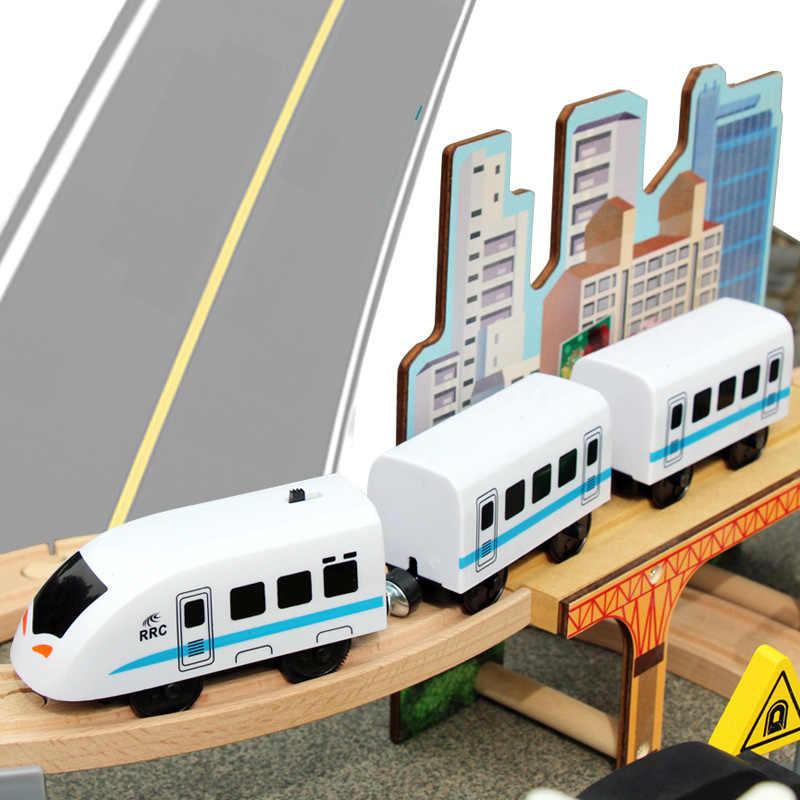 95 шт. поезд трек набор Натуральные Деревянные игрушки Магнитный Электрический локомотив железная дорога деревянные блоки Развивающие игрушки для детей подарок