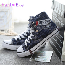 HanDuEKe 2017 Spring New Fashion High-top Washed Denim Men Canvas Shoes Doodle Platform Casual Flat Shoes