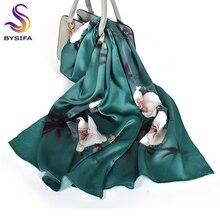 BYSIFA роскошный шарф из чистого шелка, шаль для женщин, темно-зеленый цветочный длинный шарф, модный бренд, шелк, шейный шарф, 175*52 см