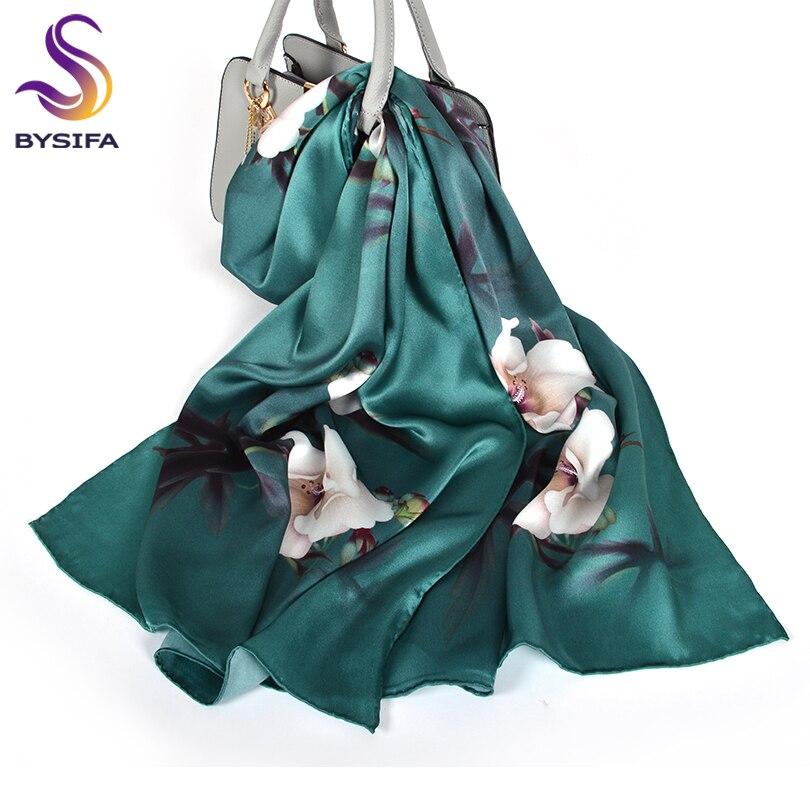 BYSIFA New Luxury Pure Silk Scarf Shawl Women Dark Green Floral Long Scarves Fashion Brand 100% Silk Neck Scarf Foulard 175*52cm