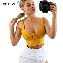 Articat Bow Tie V Neck Summer Crop Top Women White Sleeveless Backless Casual Sh